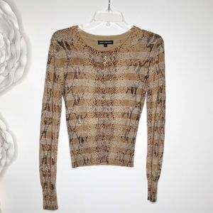 EXPRESS Cardigan Sweater Metallic Animal Print